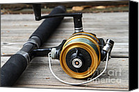 American Pastime Canvas Prints - Fishing Rod and Reel . 7D13547 Canvas Print by Wingsdomain Art and Photography