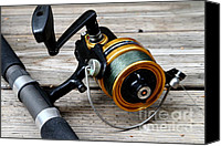 American Pastime Canvas Prints - Fishing Rod and Reel . 7D13549 Canvas Print by Wingsdomain Art and Photography