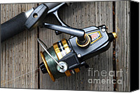 American Pastime Canvas Prints - Fishing Rod and Reel . 7D13565 Canvas Print by Wingsdomain Art and Photography