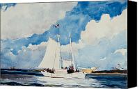 Sailboat Canvas Prints - Fishing Schooner in Nassau Canvas Print by Winslow Homer