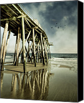 Wooden Post Canvas Prints - Fishing Shack Pier Canvas Print by Jody Trappe Photography