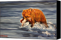 Kodiak Canvas Prints - Fishing Canvas Print by Terry Lewey