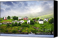 Foggy Canvas Prints - Fishing village in Newfoundland Canvas Print by Elena Elisseeva