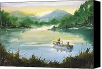 Father Painting Canvas Prints - Fishing With Grandpa Canvas Print by Sean Seal