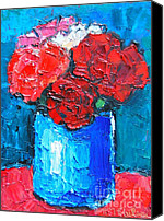 Collectable Painting Canvas Prints - Five Carnations Canvas Print by Ana Maria Edulescu