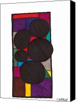 Prismacolor Marker Canvas Prints - Five Dark Discs Canvas Print by Teddy Campagna