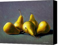 Food Tapestries Textiles Canvas Prints - Five Golden pears Canvas Print by Frank Wilson