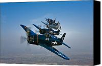 Demonstration Photo Canvas Prints - Five Grumman F8f Bearcats In Formation Canvas Print by Scott Germain