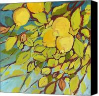 Lemon Painting Canvas Prints - Five Lemons Canvas Print by Jennifer Lommers
