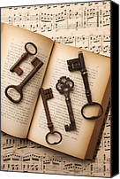 Antique Books Canvas Prints - Five old keys Canvas Print by Garry Gay