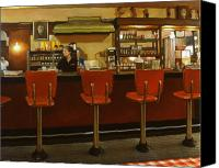 Bars Painting Canvas Prints - Five Past Six at the Mecca Cafe Canvas Print by Doug Strickland