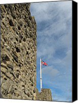 Flag Canvas Prints - Flag And Castle Wall Canvas Print by David M. Davies