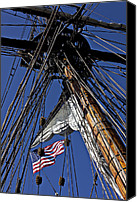 Cable Canvas Prints - Flag In The Rigging Canvas Print by Garry Gay