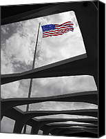Flag Pole Canvas Prints - FLAG over BATTLESHIP ARIZONA MEMORIAL Canvas Print by Daniel Hagerman