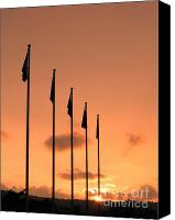 Diplomacy Canvas Prints - Flagpoles and Sunset Canvas Print by Yali Shi