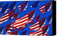 4th Of July Canvas Prints - Flags American Canvas Print by David Lee Thompson