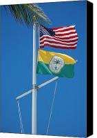 Flagpole Canvas Prints - Flags at Beach Patrol HQ - Miami Canvas Print by Frank Mari