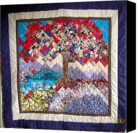 Reds Tapestries - Textiles Canvas Prints - Flame Tree quilted wallhanging Canvas Print by Sarah Hornsby