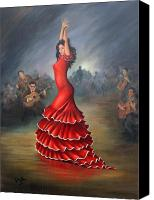 Guitar Painting Canvas Prints - Flamenco Dancer Canvas Print by Mai Griffin