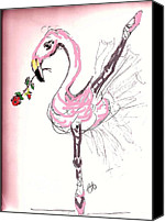 Pink Flamingo Drawings Canvas Prints - Flamenco Flamingo Canvas Print by Carol Allen Anfinsen