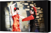 Dance Ballet Roses  Canvas Prints - Flamenco Canvas Print by Viktor Korostynski