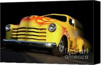 Old Trucks Canvas Prints - Flaming Chevy Canvas Print by Tom Griffithe