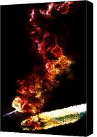 Breathe Canvas Prints - Flaming Cigarette Canvas Print by Andrea Barbieri