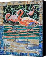 Mosaic Glass Art Canvas Prints - Flaming Flamingos Canvas Print by Li Newton