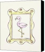 Pink Flamingo Drawings Canvas Prints - Flamingo in a Frame Canvas Print by Tessa Easley