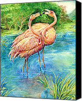 Natalie Berman Canvas Prints - Flamingo in Love Canvas Print by Natalie Berman