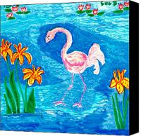 Sue Burgess Canvas Prints - Flamingo Canvas Print by Sushila Burgess