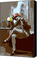 Pop Art Digital Art Canvas Prints - Flapper Girl 2 Canvas Print by Stefan Kuhn