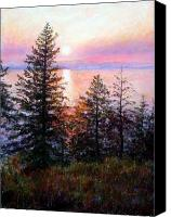 Trees Pastels Canvas Prints - Flathead Lake Canvas Print by Mary Giacomini