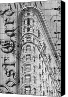 Guggenheim Canvas Prints - Flatiron Vintage Postcard Canvas Print by Anahi DeCanio
