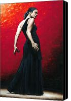 Dancer Painting Canvas Prints - Flemenco Arrogancia Canvas Print by Richard Young