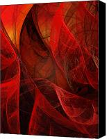 Fine Art Fractal Art Canvas Prints - Flickering Flaming Fractal 2 Canvas Print by Andee Photography