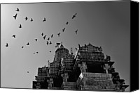 Flock Of Birds Canvas Prints - Flight Of Birds Above Jadgish Temple Canvas Print by Prashanth Naik
