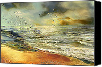 Waves Canvas Prints - Flight of the seagulls Canvas Print by Anne Weirich
