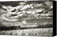 Approaching Canvas Prints - Flint Hills Prairie Canvas Print by Thomas Bomstad