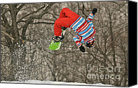 Snowboarder Canvas Prints - Flippin Canvas Print by Lois Bryan