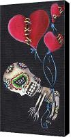 Sugar Skull Painting Canvas Prints - Floating Away Canvas Print by  Abril Andrade Griffith