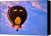 Hot Air Canvas Prints - Floating Cat - Hot Air Balloon Canvas Print by Bob Orsillo