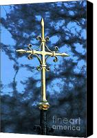 Crucifix Mixed Media Canvas Prints - Floating Cross Canvas Print by AdSpice Studios