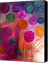 Angel Blues  Painting Canvas Prints - Floating Flowers Canvas Print by Joyce Auteri