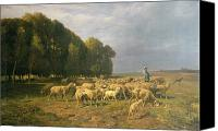 Meadows Canvas Prints - Flock of Sheep in a Landscape Canvas Print by Charles Emile Jacque
