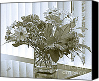 Fine Photography Art Canvas Prints - Floral Arrangement With Blinds Reflection Canvas Print by Ben and Raisa Gertsberg