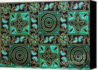 Cloth Tapestries - Textiles Canvas Prints - Floral fabric pattern Canvas Print by Phalakon Jaisangat