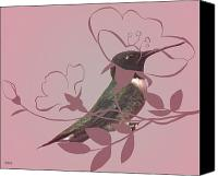 Lovely Looking Flower Canvas Prints - Floral Hummingbird  Canvas Print by Debra     Vatalaro