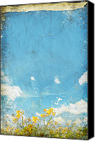 Materials Canvas Prints - Floral In Blue Sky And Cloud Canvas Print by Setsiri Silapasuwanchai