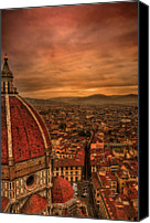 Italian Canvas Prints - Florence Duomo At Sunset Canvas Print by McDonald P. Mirabile
